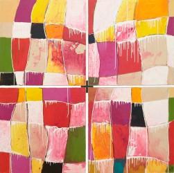 Inselfarben: No. 394 | 182x182 cm | 2010 | Spachtelarbeit auf Leinwand 4 teilig.